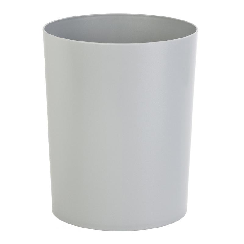 Abfallbehälter: Feuerfester Papierkorb rund, geschlossen, aus Kunststoff | 13 Liter  | grau/aluminiumfarben, oben offen
