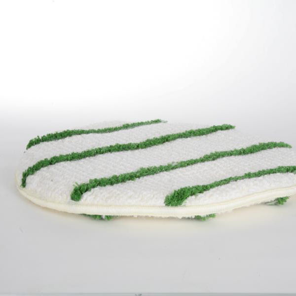 Maschinenpad/Queen-Bonnet Garnpad 432 mm - 17 Zoll | weiß mit grünen Streifen | für die Teppichreinigung, beidseitig verwendbar