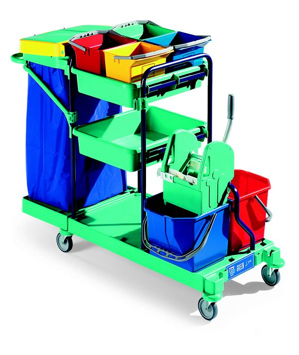 """Reinigungswagen Green Line """"Green 460 - 30-l blue""""   2 x 15-Liter-Eimer rot/blau, Presse, Kunststoffschalen, 6-Liter Eimer, Abfalleinheit"""