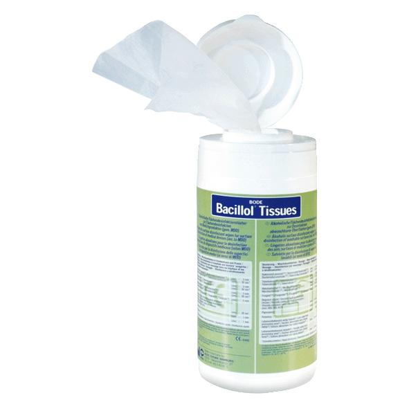 Bacillol Tissues, Flächen-Desinfektionstücher Spender-Dose mit 100 Tüchern | gebrauchsfertig, aldehydfrei,  (Nachfüllbeutel Artikel 37126)