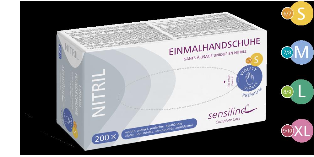 Sensilind Nitril Premium Einmalhandschuhe   200 Stück   violett/blau, puderfrei