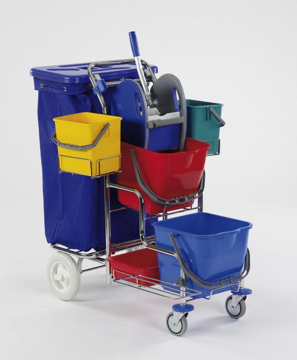 """Reinigungswagen """"SW 20 Plus"""" Doppelfahrwagen verchromt   2 x 17 Liter    Stufenwagen mit 2 großen Kunststoffrädern hinten, 2 x 17-Liter-Eimer, 2 x 6-Liter-Eimer, Presse, Ablageschale, Abfalleinheit für 120-Liter-Müllsack"""