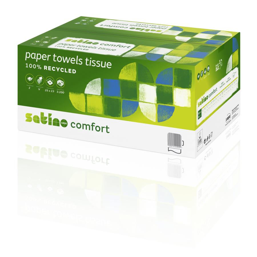 1 Karton Satino Papierhandtücher 2-lagig | 25 x 23 cm | naturweiß