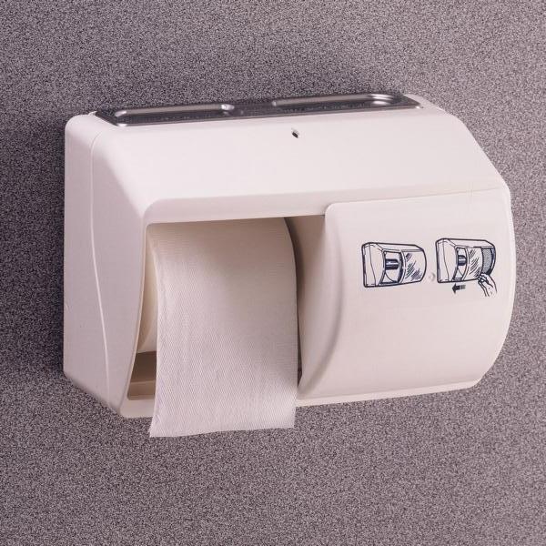 Toilettenpapier-Rollen-Spender für 2 Rollen   Kunststoff weiß mit weißem Schiebe-Deckel