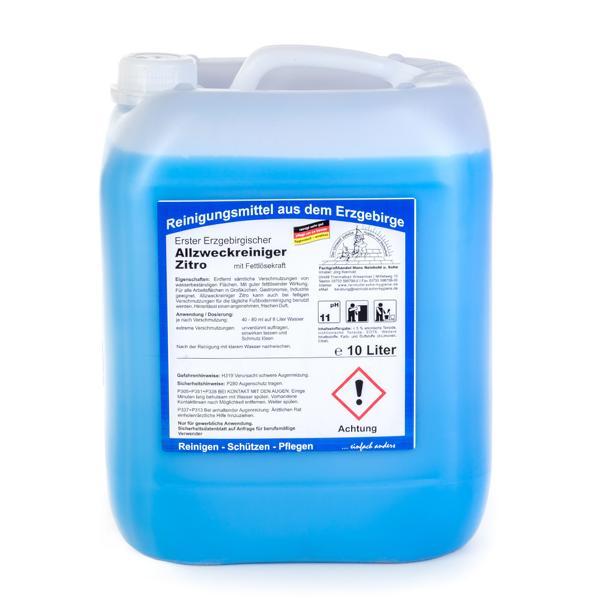 Erster Erzgebirgischer Allzweckreiniger Zitro, mit Fettlösekraft | 10 Liter  | für alle Arbeitsflächen in Großküchen, Gastronomie, Industrie geeignet