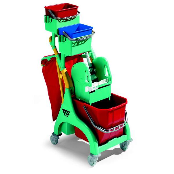 """Reinigungswagen """"Nick Plus 30"""" grün   15 Liter     komplett mit Abfalleinheit für 50 Liter Säcke, 2 x Eimer á 4 Liter, 1 x Eimer á 15 Liter, Tec Presse und Eimerhalterung"""