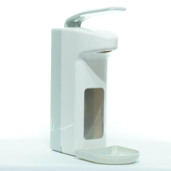 Armhebelspender für 1000-ml-Flaschen, Farbe weiß/grau | mit Auffangschale/Tropfschale, Gehäuse und Armhebel aus Kunststoff, geschlossenes System
