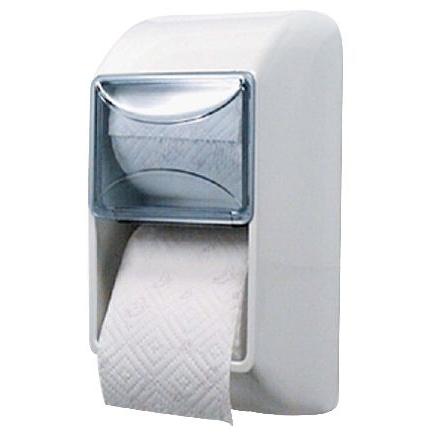 Toilettenpapier-Rollen-Spender für 2 Rollen   Kunststoff weiß mit transparentem Deckel, Rollen übereinander angeordnet