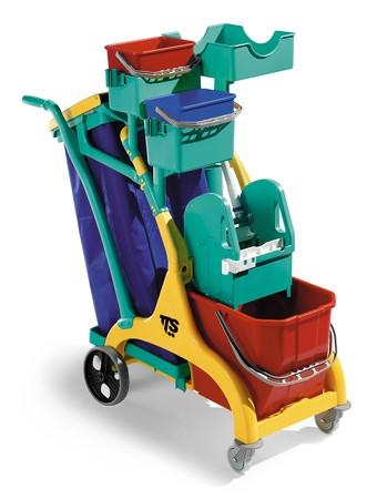 """Reinigungswagen """"Nick Star 110""""   15 Liter    hinten mit großen Rädern (Axialrädern) und umfangreichem Zubehör"""