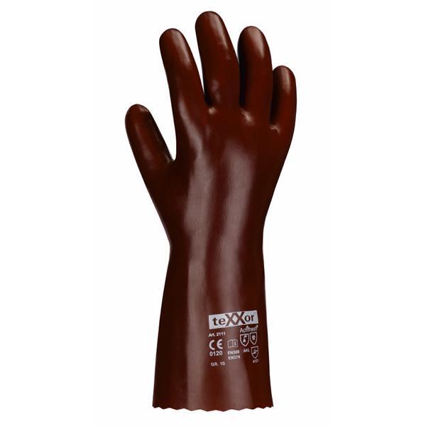 Chemikalienschutzhandschuhe aus PVC, rotbraun, ca. 60 cm lang | Größe 10, gemäß EN 388 und 374 - Kategorie 3