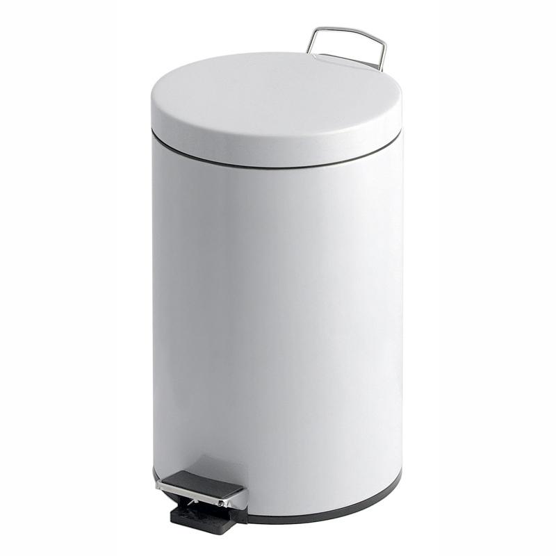 Abfallbehälter, Treteimer, 12 Liter, rund, Metall mit Kunststoff-Inneneimer | Farbe: weiß