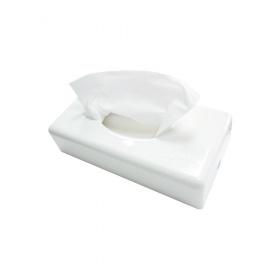 Kosmetiktücher-Spender, ABS-Kunststoff, für Wandmontage oder zum Aufstellen | weiß  | passende Kosmetiktücher Artikel 19021