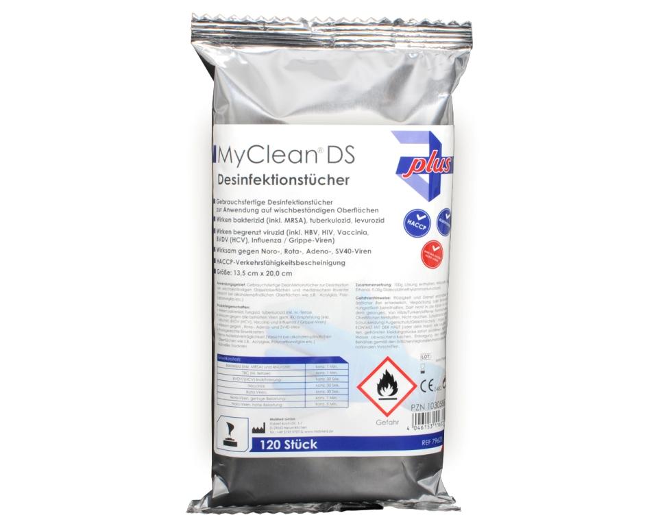 Desinfektionstücher MyClean® DS (neutral)  | 120 Tücher | Nachfüllpack passend für Artikel 37234, gebrauchsfertige Flächendesinfektion, VAH, HACCP