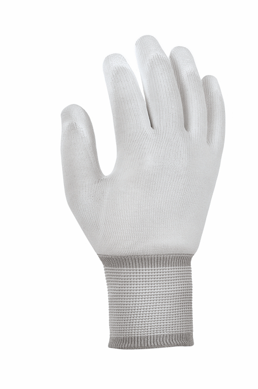 Polyester-Strickhandschuhe mit PU-Beschichtung, weiß  | Finger und Innenhand mit Polyurethan-Beschichtung, Handrücken und Fingeroberseiten frei, Strickbund | Größe XS - XXL