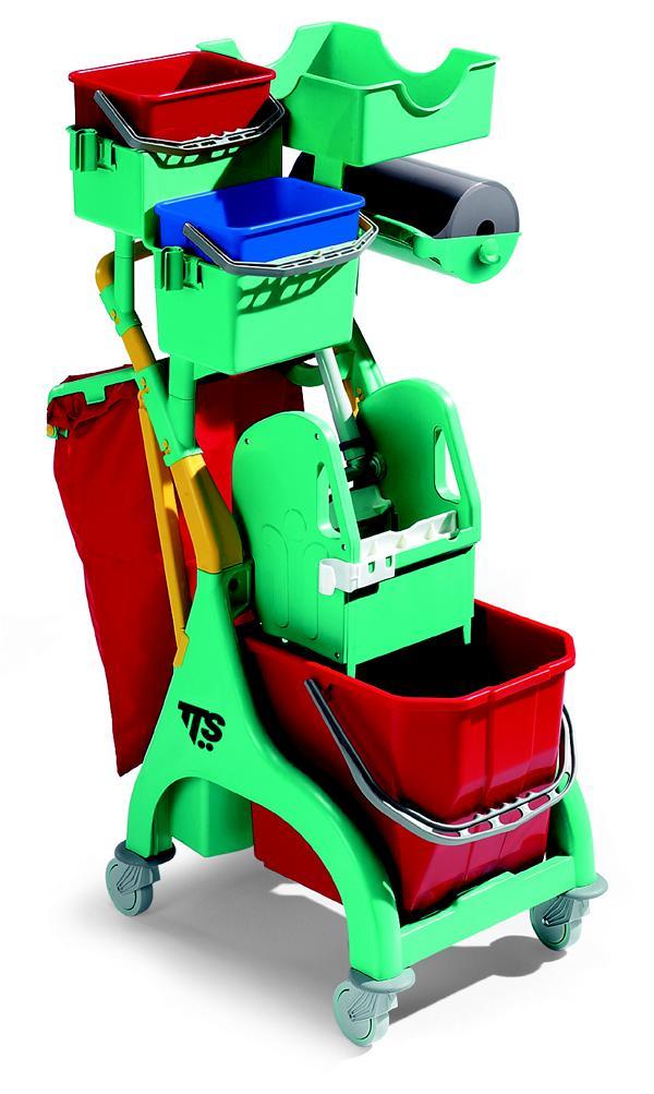 """Reinigungswagen """"Nick Plus 120"""" grün   15-Liter    komplett mit 1 x 15 Liter Eimer, Tec Presse, 2 x 4 Liter Eimer, Ablagewanne, Abfalleinheit für 50 Liter Säcke"""