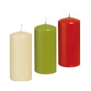 HOME FASHION Stumpenkerze 100 x 60 mm | Farbe: grün, creme, rubin | Material: Paraffinwachs, Brenndauer: ± 28 h