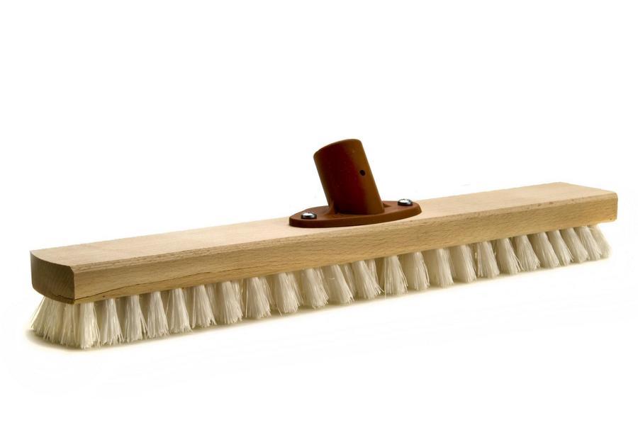 Industriewischer mit Kunststoffstielhalter 40 cm, Holzkörper, weiße Kunststoffborsten   6 Reihen