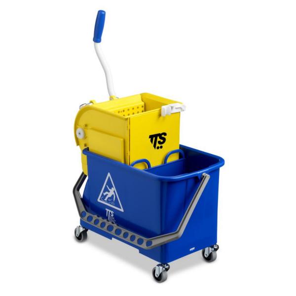 Einfach-Fahrwagen Double Bucket | 20 Liter | Reinigungswagen mit Wassertrennwand, Vertikalpresse, Ø 50 mm Lenkrollen