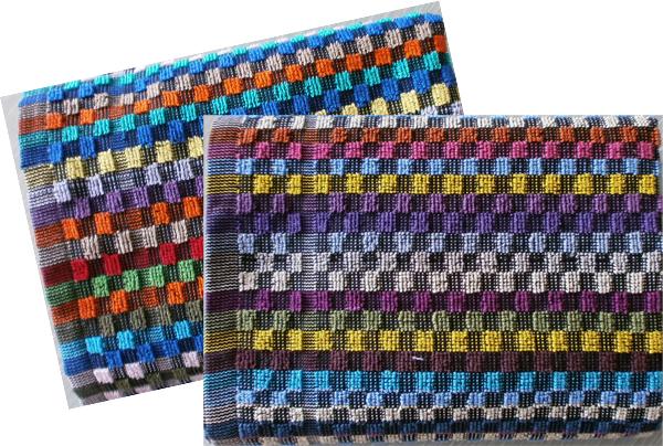 Grubenfrottierhandtuch Baumwolle, Karo-Muster bunt, 50 x 90 cm, /310g/m²   100% Baumwolle, 60°C waschbar