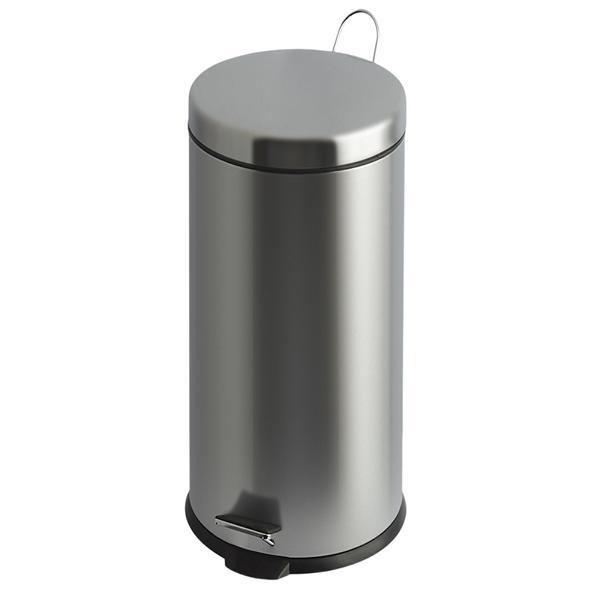 Abfallbehälter, Treteimer  30 Liter, rund | Edelstahl matt | mit Kunststoff Inneneimer