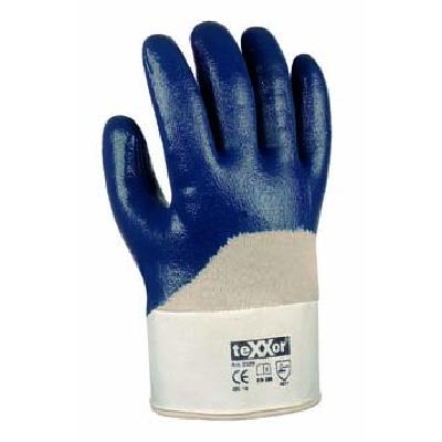 Arbeitsschutzhandschuhe Nitril 3/4-beschichtet, mit Stulpe, blau | Größen: 7 - 11 | gemäß EN 388 - Kategorie 2