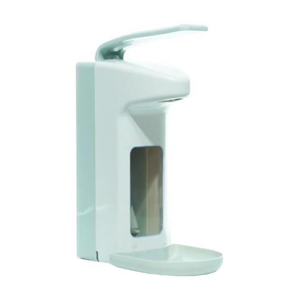 Armhebelspender für  500-ml-Flaschen, Farbe weiß/grau | mit Auffangschale/Tropfschale, Gehäuse und Armhebel aus Kunststoff, geschlossenes System