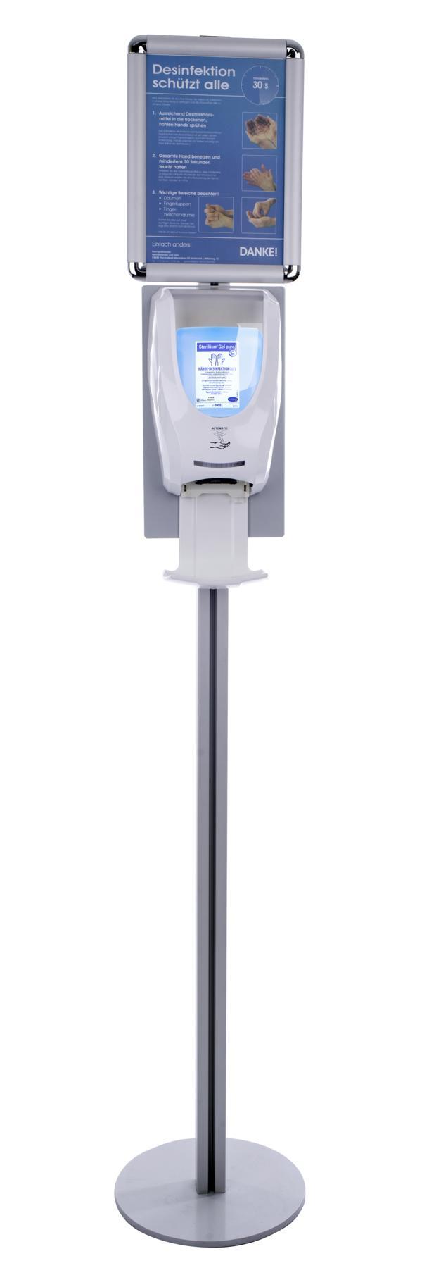 Mobile Desinfektionsstation, berührungsloser Desinfektionsspender, Sensor gesteuert mit Funktionsanzeige | bestehend aus (Stückliste):  | - 1 x Automatischer & Berührungsloser (Artikel 70485) | - 1 x Auffangschale/Tropfschale (Artikel 70487) | - 1 x Infor