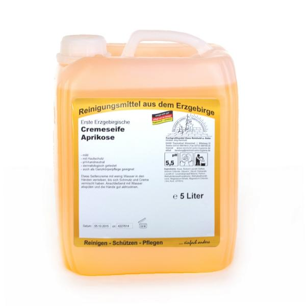 Erste Erzgebirgische Cremeseife Aprikose | 5 Liter  | mild und pH-hautneutral mit Hautschutz