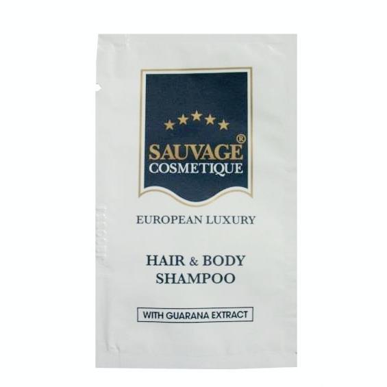 Sauvage Cosmetique Hair & Body Shampoo 10 ml | 600 Beutel