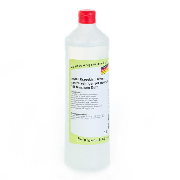 Erster Erzgebirgischer Sanitärreiniger pH-neutral mit frischem Duft |  1 Liter  | entfernt Kalk- und Seifenrückstände, Fett und andere Verschmutzungen in einem Arbeitsgang