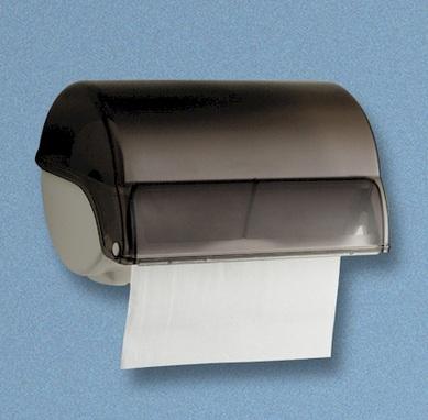 "Rollenhandtuchspender ""Allzweck"" manueller Papiertransport | weiß/grau-transparent | für Papier-Rollenhandtücher Artikel 10028, 13024"