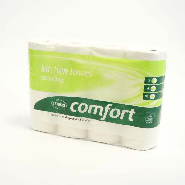 Küchentücher, Küchenrolle Wepa Comfort 3-lagig | 100% Recycling | 4 Rollen