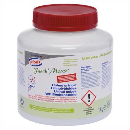 WC-Beckensteine Fresh Mouss | 1 kg | reinigt und parfümiert das Pissoir