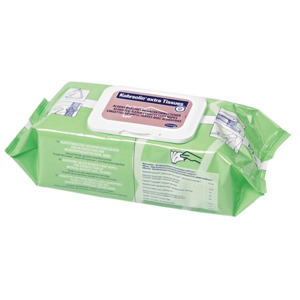 Kohrsolin extra Tissue | 80 Tücher  | aldehydhaltige Desinfektionstücher für die tägliche prophylaktische Desinfektion mit viruzider Wirksamkeit | ABGABE NUR MIT ENDVERBLEIBSERKLÄRUNG! VERSAND NUR AN GEWERBETREIBENDE! (ChemVerbotsV Anlage 2 Eintrag 1 Nr.