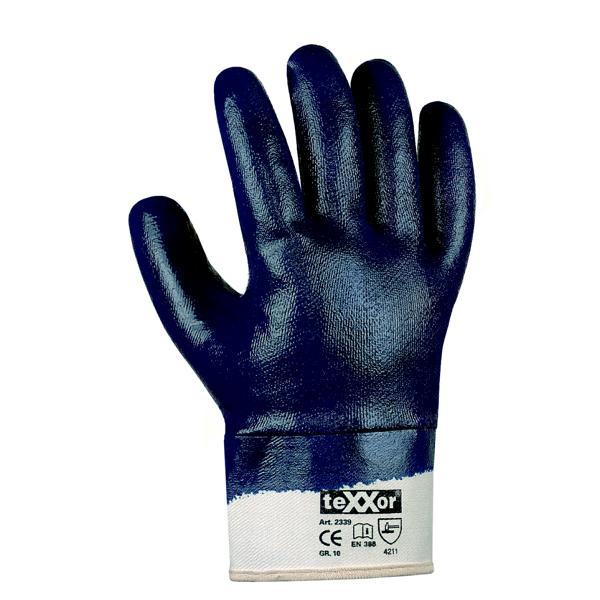 Arbeitsschutzhandschuhe Nitril vollbeschichtet, mit Stulpe, blau | Größen: 7 - 11  | gemäß EN 388 - Kategorie 2