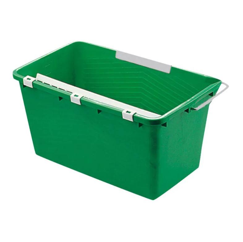 Unger® Eimer eckig 18 Liter grün, mit Ablage und Sieb, für die Glasreinigung QB120