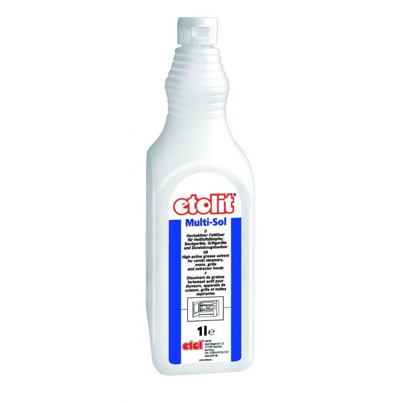 etolit® Multi-Sol | Hochaktiver Fettlöser zur Reinigung von heißluftdämpfern, Back-, Grillgeräten und Dunstabzugshauben | 1 Liter