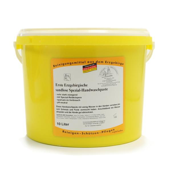 Erste Erzgebirgische Handwaschpaste Spezial sandlos | 10 Liter  | mit Kunststoffreibekörper für starke bis sehr starke Verschmutzungen