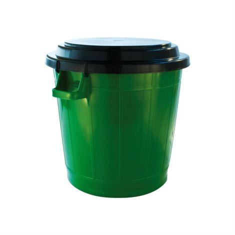 Abfallbehälter, Universalbehälter grün 70 Liter mit Deckel und Bügelverschlüssen | Uni-Tonne, Ø 50 cm, Höhe: 48 cm