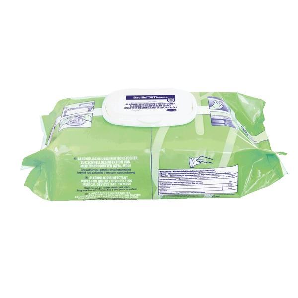 Bacillol 30 Tissues, Flow Pack | 80 Tücher  | alkohol- und aldehydfreie Desinfektionstücher zur Schnelldesinfektion von Medizinprodukten und anderen Flächen | Tuchgröße 180 x 200 mm